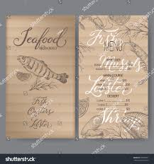 vintage seafood restaurant menu template hand stock vector