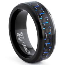 Mens Gunmetal Wedding Rings by Amazon Com Oliveti Black Titanium Men U0027s Black And Blue Carbon