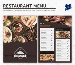 editable menu templates restaurant menu template
