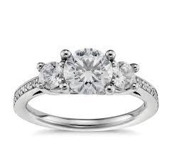 3 engagement ring three pavé diamond engagement ring in platinum 2 3 ct tw