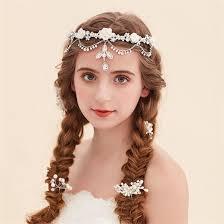 forehead headband vintage wedding bridal bridesmaid silver rhinestone flower