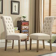 Upholstered Parsons Dining Room Chairs Cool Roundhill Furniture Habit Solid Wood Tufted