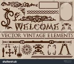 detailed brown vintage elements gothic halloween stock vector