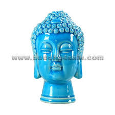 Decorative Buddha Head Ceramic Glossy Blue Rounded Decorative Good Luck Southeast Asian