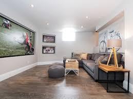 grey laminate flooring basement transitional with bicycle art gray