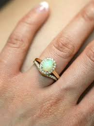 Opal Wedding Rings by Gemstone Engagement Ring Set Opal Ring And Matching Diamond