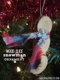 rustic wood slice snowman ornament