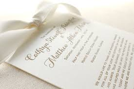 customized wedding programs letterpress printed wedding programs with bow letterpress