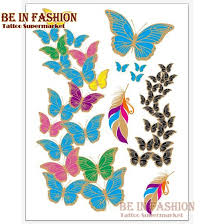 waterproof temporary sticker colorful butterfly design