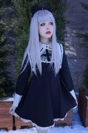 cute girls dark black dress women long sleeve nun cross