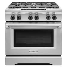 kitchenaid commercial style 36 in 5 1 cu ft slide in dual fuel