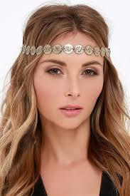 gold headband boho gold headband coin headband elastic headband 11 00