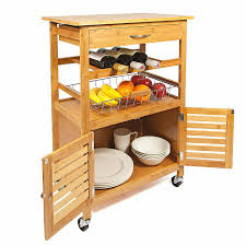 woodluv bamboo kitchen storage trolley cart with drawer amazon co