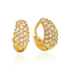 gold ear ring buy mahi cz collection gold plated cz stones hoop earrings for
