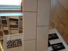 white subway tile 3x6 brick pattern laundry room backsplash wall