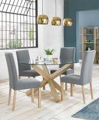 Dining Table Oak Turin Aged Oak Circular Glass Top Dining Table Brand Interiors
