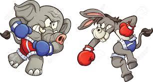 democrat cartoon donkey fighting republican elephant vector