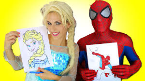 spiderman u0026 frozen elsa drawing challenge in real life w superman