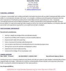 Personal Profile Statement on a CV     Free Examples   CV Plaza Reentrycorps     Contracts manager CV sample