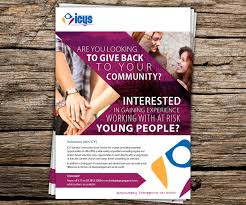 flyer design for icys ipswich community youth service inc by