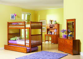 furniture home double bed with trundle natural kids bedroom