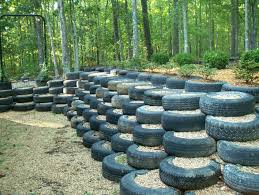 Tire Barn Champaign Il I Did This Retaining Wall Made From Used Tires Landscape