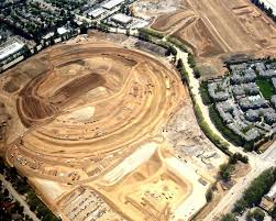 aerial photo shows outline of apple u0027s spaceship campus taking