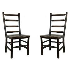 Ladder Back Dining Chairs Ladder Back Dining Chairs W Hickory Distressed Oak Set Of 2