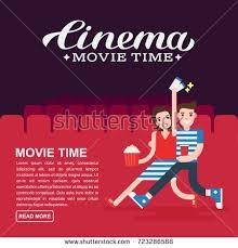 cinema poster movie banner template lettering stock vector