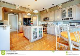 Kitchen Green Kitchen Colors Stock Large Beautiful White Kitchen With Hardwood Floor And Green Walls