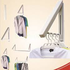 Folding Clothes Dryer Rack Coat Fold Away Hanger Wall Mounted Clothes Hanging Rail Dryer Rack