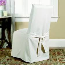 Sure Fit Cotton Duck Long Arm Dining Room Chair Cover - Dining room chair slipcovers with arms