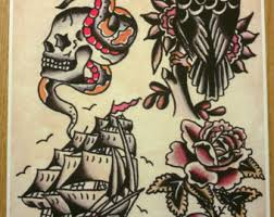 owen jensen classic tattoo flash print tattoo flash recreated