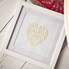 paper butterfly heart picture in ivory