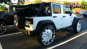 jeep wrangler on 24s white jeep wrangler unlimited x on 30 rockstarr wheels 1080p hd