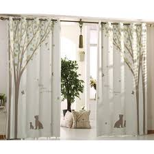 Country Curtains Beige And Green Tree Print Poly Cotton Blend Country Curtains