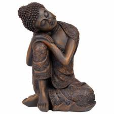 24cm bronze effect polyresin sitting buddha statue gardens2you