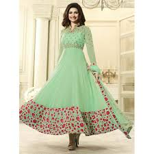 pista green color buy anarkali suits light green u0026 red embroidered georgette