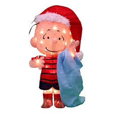 Amazon Outdoor Lighted Christmas Decorations amazon com peanuts 3d 18 in pre lit tinsel linus with blanket