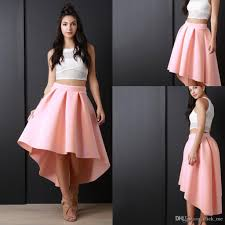 2017 newest pink high low women skirs for teens satin pleats a