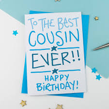 cousin birthday card by a is for alphabet notonthehighstreet com