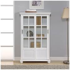 Glass Bookcase With Doors Altra 9448096 Bookcase With Sliding Glass Doors White