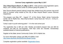 leisure opportunities 30th may 2017 2017 childcare center and general summer cs in volusia county