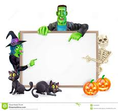 halloween monsters background sign stock photos image 34492603