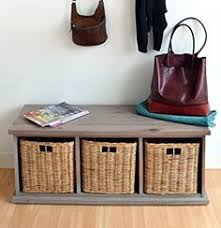 Storage Bench With Baskets Hartleys Bench Cushion Seat U0026 Seagrass Wicker Storage Baskets
