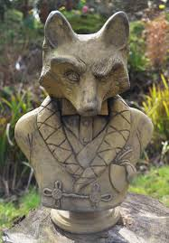 fox garden ornament bust proof statue original
