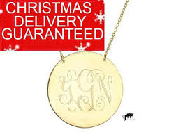 gold plated monogram necklace disc necklace 1 inch 18k gold plated monogram pendant