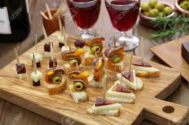 m and s canapes finger food tapas pinchos canapes stock photo
