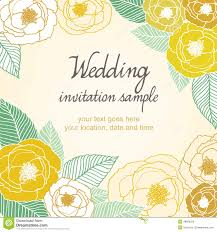 Yellow Wedding Invitation Cards Wedding Invitation Card With Abstract Floral Background Stock