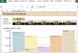 employee schedule u0026 hourly increment template for excel